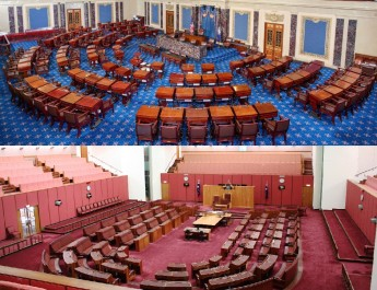 The United States (above) and Australian (below) senates have more in common than you might think. Credit Wikipedia Commons.