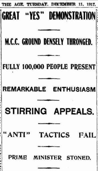 Great 'Yes' Demonstration. The Age, Tuesday December 11, 1917.