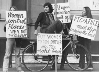Women demonstrate outside Trades Hall in Sydney in 1976 for women's right to be train drivers. Courtesy of Newspix.