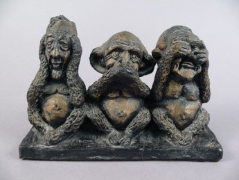 This candle mould by Terry Sedgewick depicts three of the leadership contenders; Bury, McMahon and Gorton, as the traditional 'three wise monkeys'; Hear No Evil, Speak No Evil and See No Evil. Image: Museum of Australian Democracy Collection