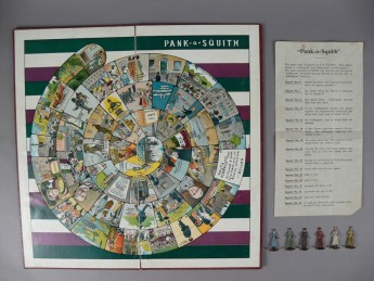 The Pank-A-Squith board game with its set of rules and six lead tokens. The game was made by a leading German company, and sold by the Women's Social and Political Union in its shops throughout Britain.