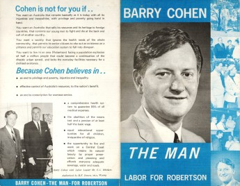 Campaign leaflet for Labor candidate Barry Cohen, 1969. Museum of Australian Democracy Collection.