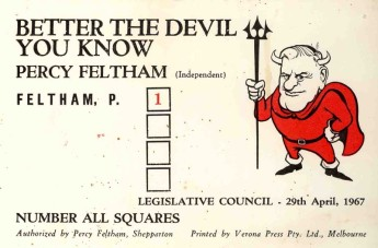 Percy Feltham's how to vote card for the 1967 Victorian state election. Museum of Australian Democracy collection.