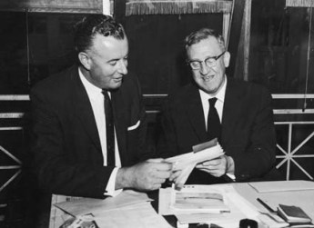 Gough Whitlam (left) with then ALP leader Arthur Calwell in 1960. Image: National Archives of Australia