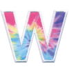 Picture of W Initial Tie Dye Sticker Patch