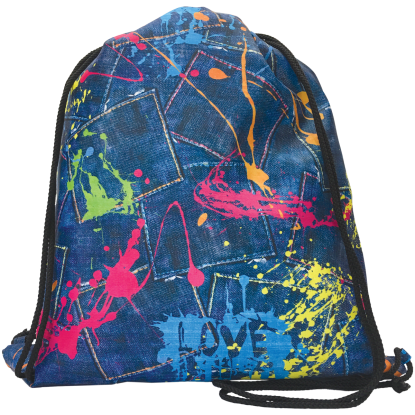 Picture of Paint Splatter Denim Drawstring Bag