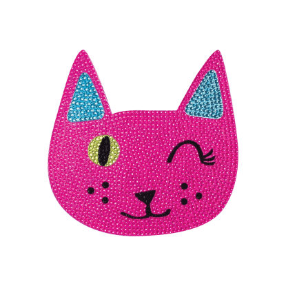 """Picture of Winking Cat Rhinestone Decals Small - 2"""" x 2"""""""
