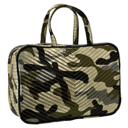 Picture of Metallic Camo Chevron Large Cosmetic Bag