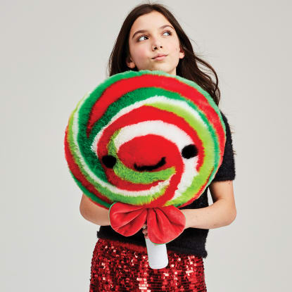 Picture of Holiday Lollipop Furry Pillow