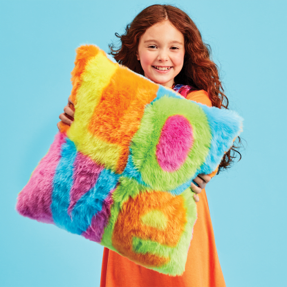 Picture of Love Color Block Furry PIllow