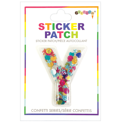 Picture of Y Initial Confetti Sticker Patch