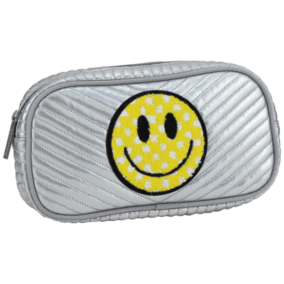 Picture of Checkered Smiley Face Chevron Small Cosmetic Bag