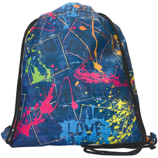 Picture of Paint Splatter Denim Drawstring Bag