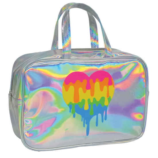 Picture of Dripping Heart Holographic Large Cosmetic Bag