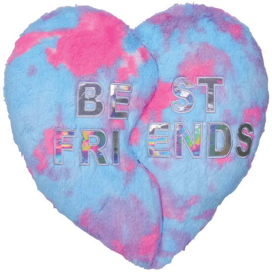 heart bff furry embroidered pillow iscream