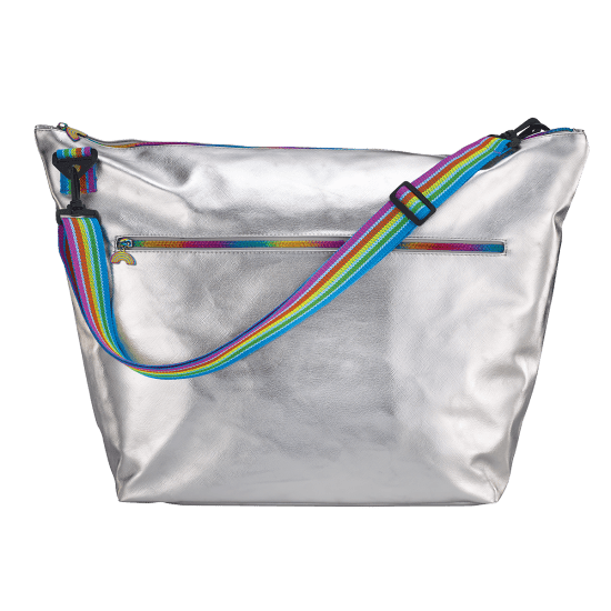 Silver Metallic Weekender Bag
