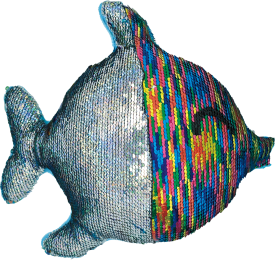 Picture of Rainbow Fish Reversible Sequin Pillow