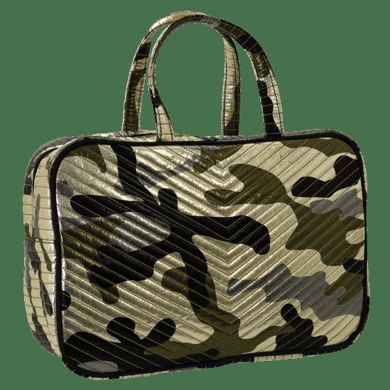 Picture of Metallic Camo Chevron Large Cosmetic Bag