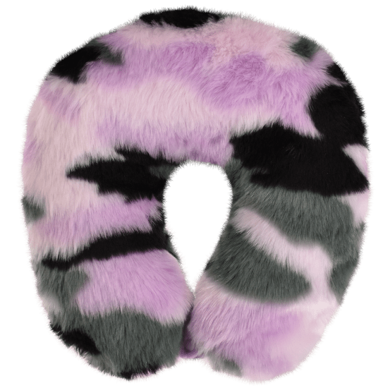 Picture of Purple Camo Furry Neck Pillow