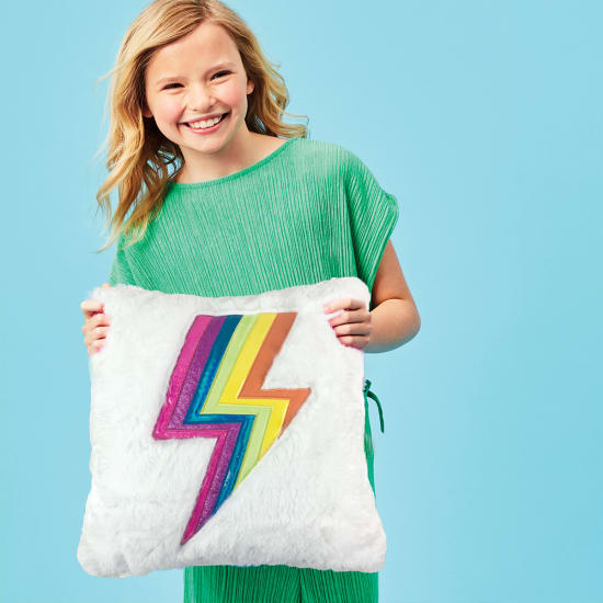 Picture of Rainbow Lightning Furry Pillow