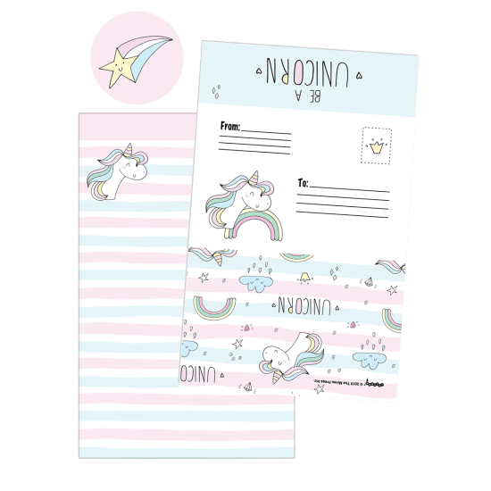 Picture of Unicorn Stripes Foldover Cards