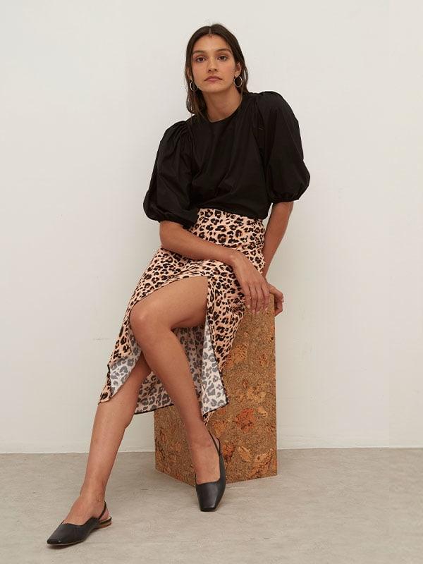 LENZING TM ECOVERO TM Cream Leopard Delilah Split Midi Skirt