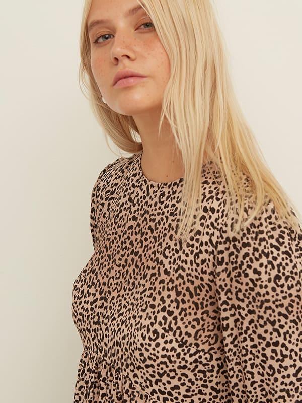 LENZING TM ECOVERO TM Brown and Black Leopard Rachel Smock Midi Dress
