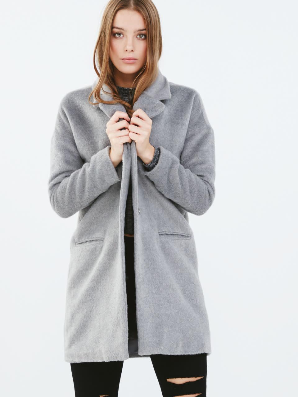 w Grey Marl Boyfriend Coat