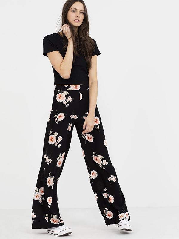 BLACK PATTERN Floral Print Wide Leg Trouser