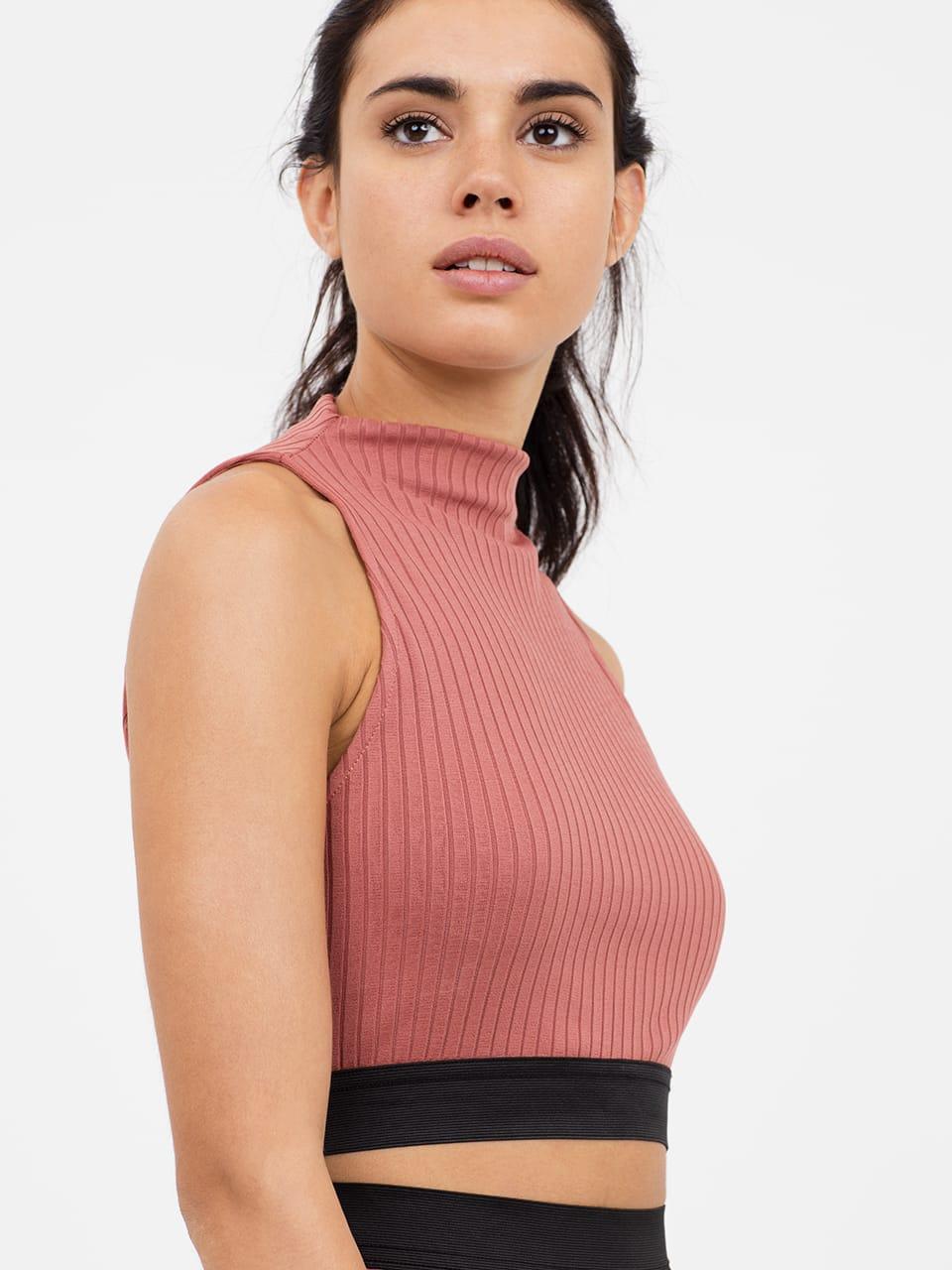 Pink High Neck Rib Top
