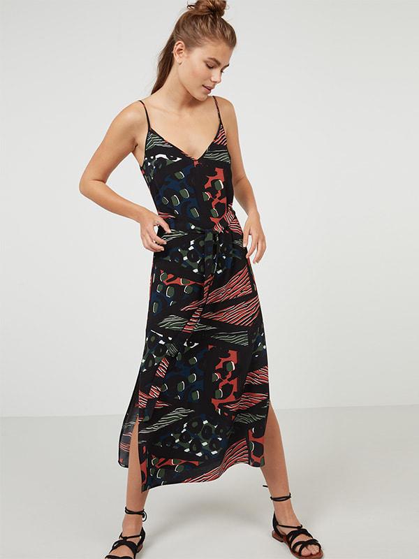 Black pattern Geo Print Midi Slip Dress