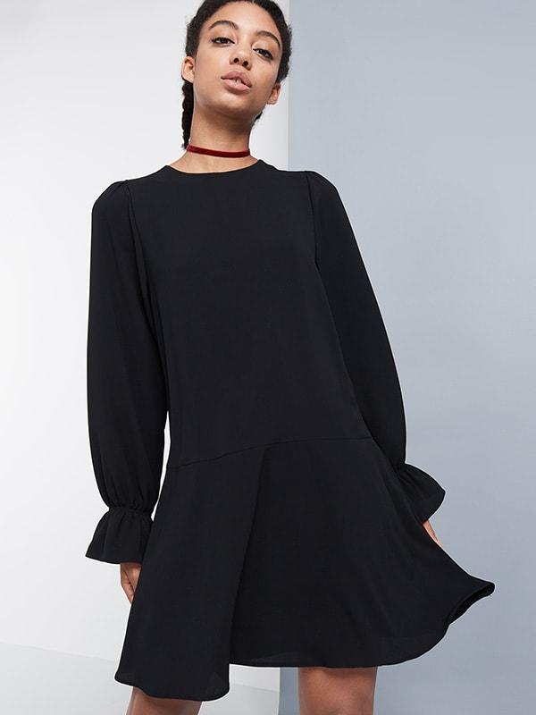 BLACK DROPPED HEM WOVEN DRESS
