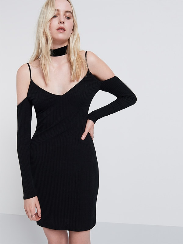 Rib cold shoulder bodycon dress