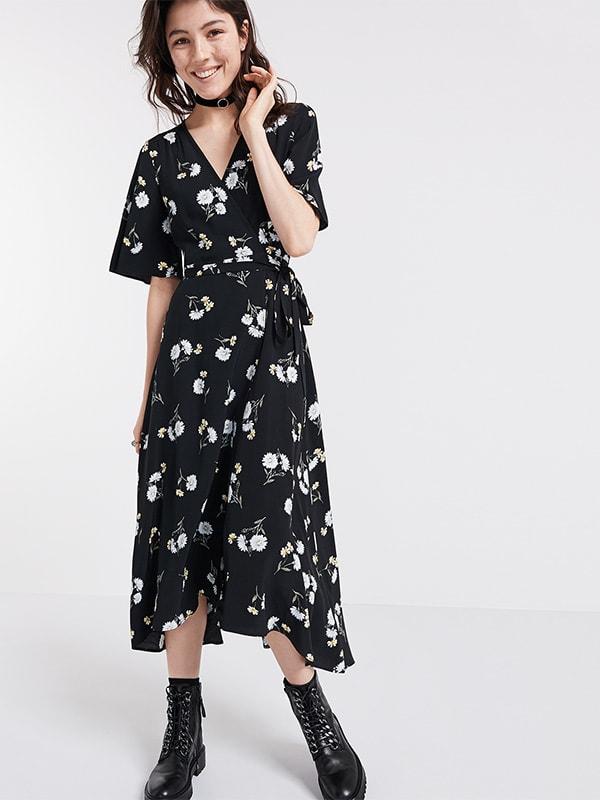 Kate Daisy Print Wrap Midi Dress