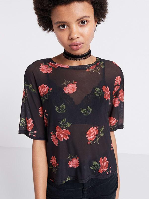 Black Lexi Floral Mesh Tee