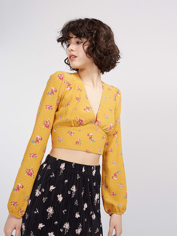 Yellow Annabelle Tie Back Crop Blouse