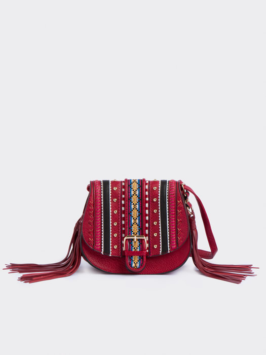 Red Kate Embroidered Saddle Bag