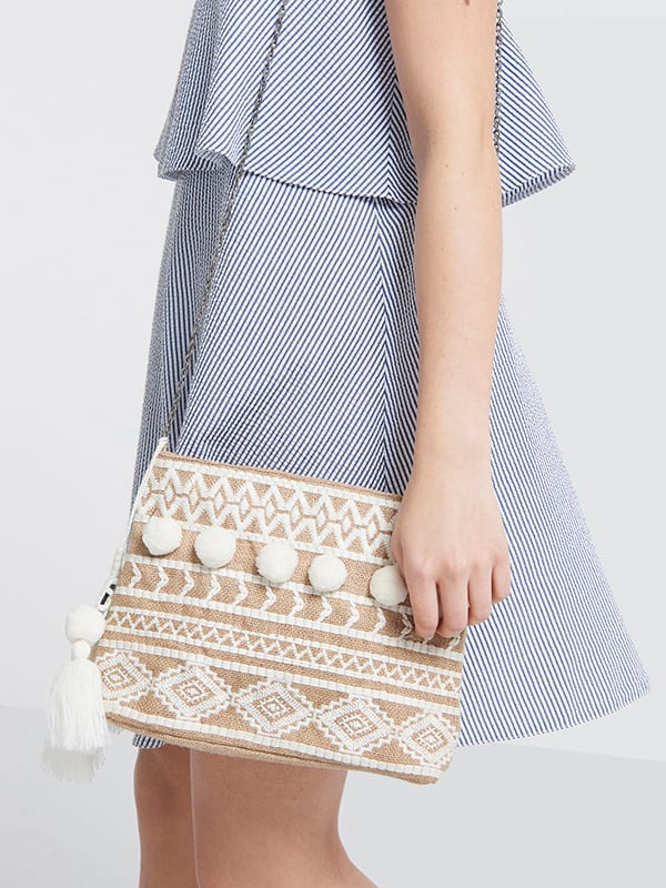 White Lorenzo Pom Pom Patterned Bag