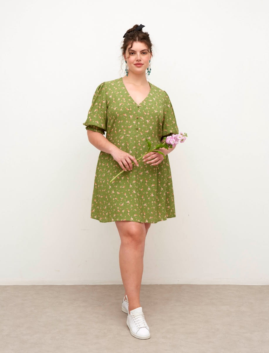 Curve Lenzing™ Ecovero™ Green Floral Teresa Mini Dress