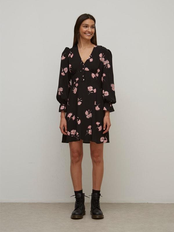 LENZING TM ECOVERO TM Pink and Black Floral Hallie Mini Dress