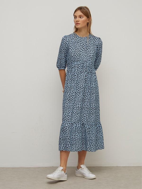 LENZING TM ECOVERO TM Black and Blue Small Smudge Rachel Babydoll Midi Dress