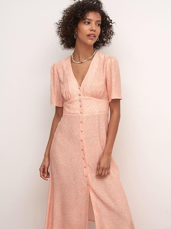LENZING TM ECOVERO TM VISCOSE Apricot and White Ditsy Alexa Midi Dress