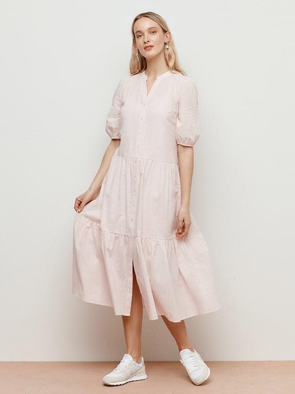 Pink Rhiannon Smock Shirt Midi Dress