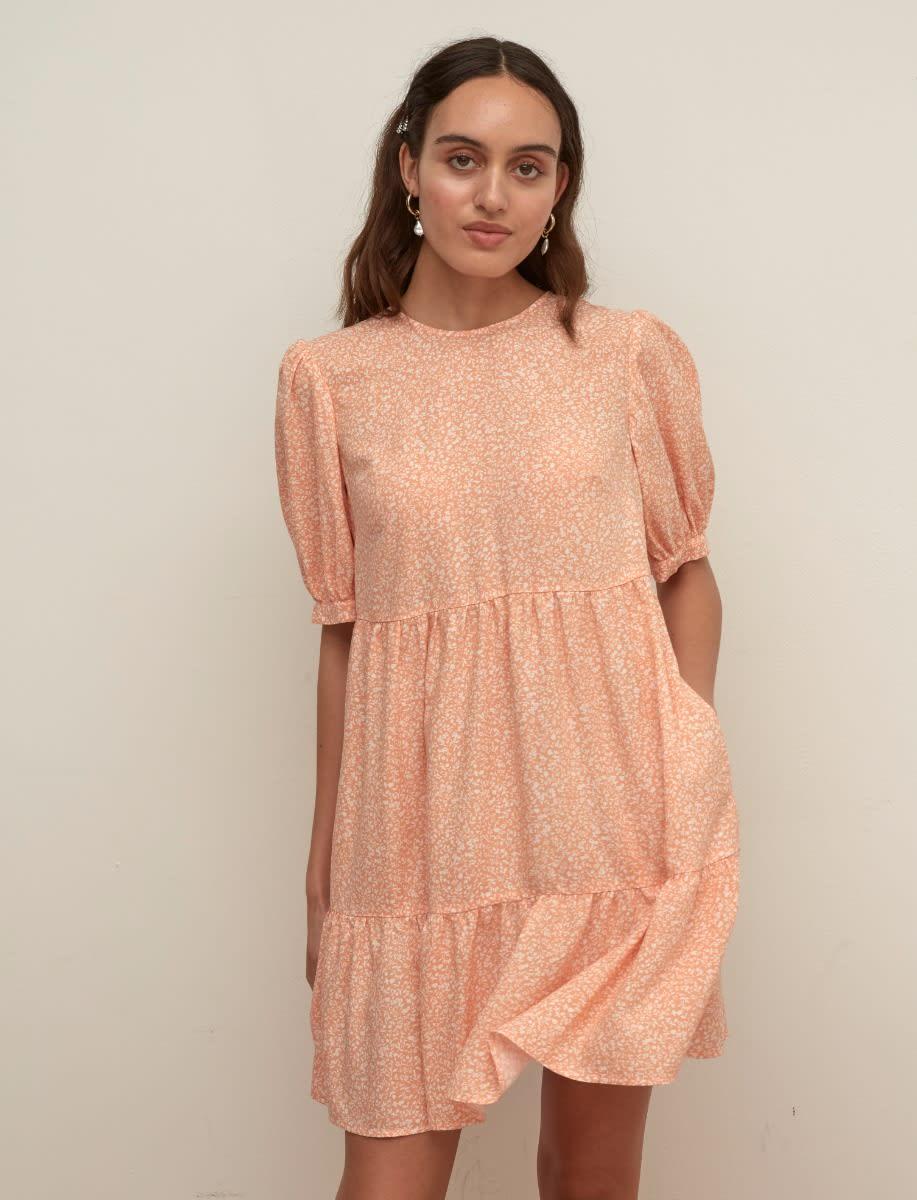 Lenzing TM Ecovero TM Viscose Apricot and White Ditsy Rochelle Mini Dress