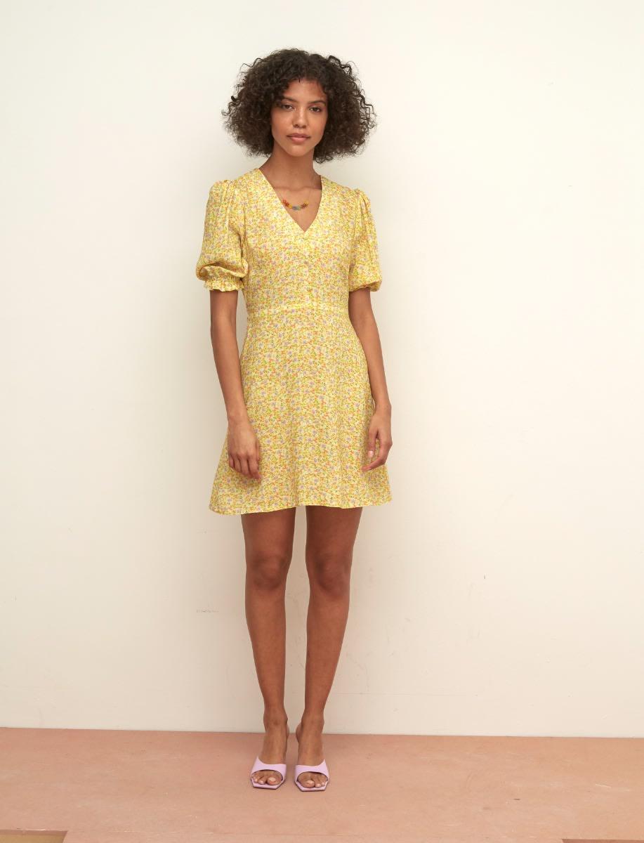 LENZING TM ECOVERO TM Yellow Ditsy Teresa Mini Dress