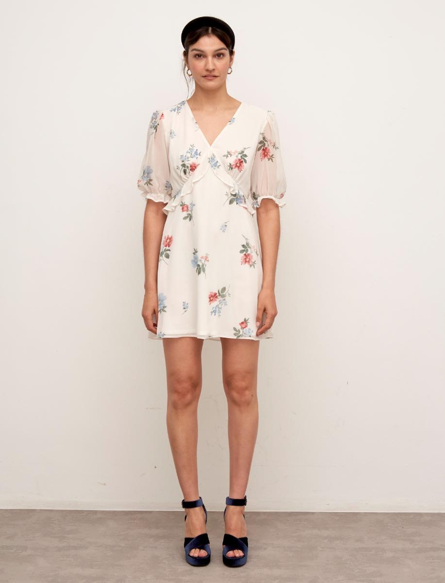 Cream Floral Chiffon Lana Frill Mini Dress