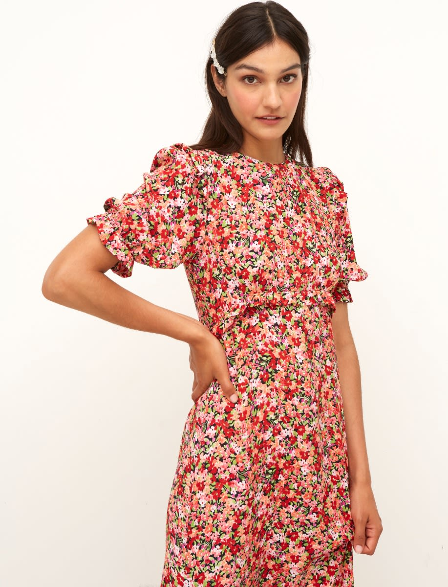 Lenzing™ Ecovero™ Red Floral Felicia Midi Dress
