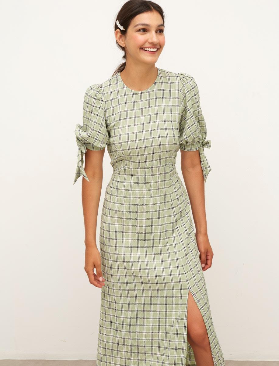 Green Check Esme Midi Dress