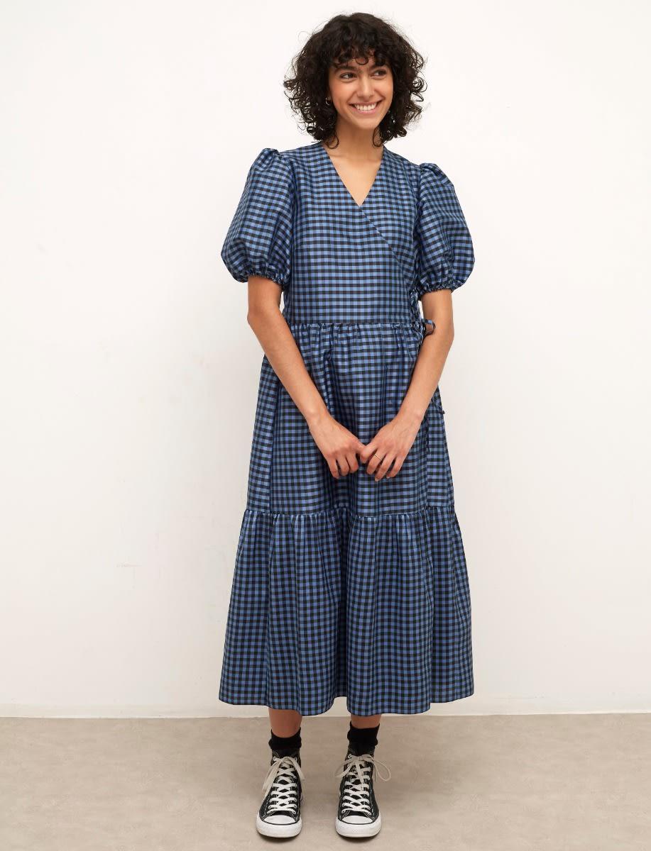 Navy Check Nina Midi Dress