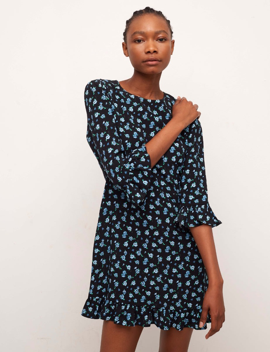 Lenzing™ Ecovero™ Black and Blue Floral Fleur Mini Dress
